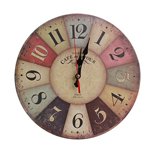 OHTOP Artistic Creative Retro Style European Round Colorful Rustic Vintage Wall Clock