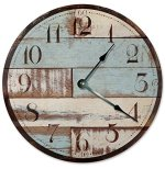 RUSTIC CLOCK Decorative Round Wall Clock Home Decor Wall Clock Large 10.5″ Novelty Clock PRINTED BLUE TAN WOOD LOOK