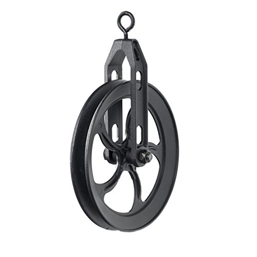 ArtifactDesign Vintage Rustic Industrial Look Medium Wheel Farm Pulley for Custom Make Wall Pendant Lamps Frosty Black