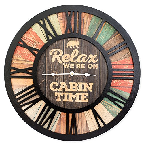 Relax We're on Cabin Time Bear Vintage Wood Look Wall Clock