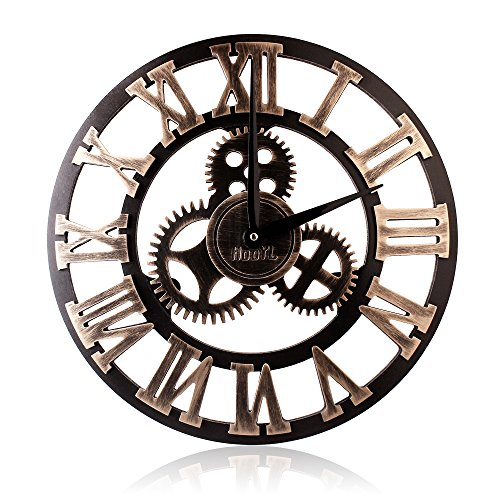 16″ Wall Clock – Retro Vintage Handmade 3D Decorative Gear Wooden Kitchen Mechanism Clock With Movements for Housewarming Round Wall Decorative Clocks by HooYL (Copper Color)