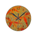 Graphic Bamboo Art Print Nouveau Pattern Round Clock