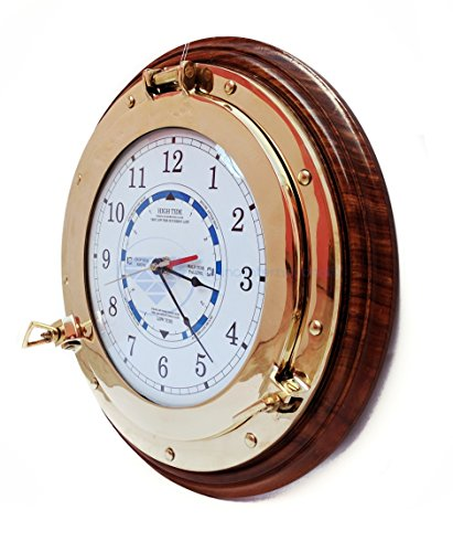 Nautical Time Tide Clock With Brass Porthole & Wooden Base – Captain Maritime Beach Home Decor Gift – Nagina International