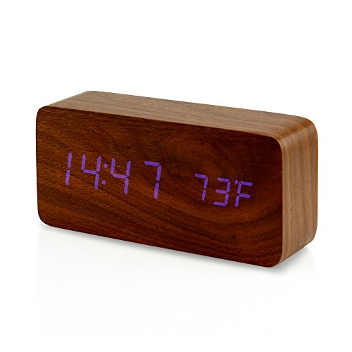 Oct17 Digital LED Wooden Desk Clock Alarm Snooze Voice Control Timer Thermometer – Brown