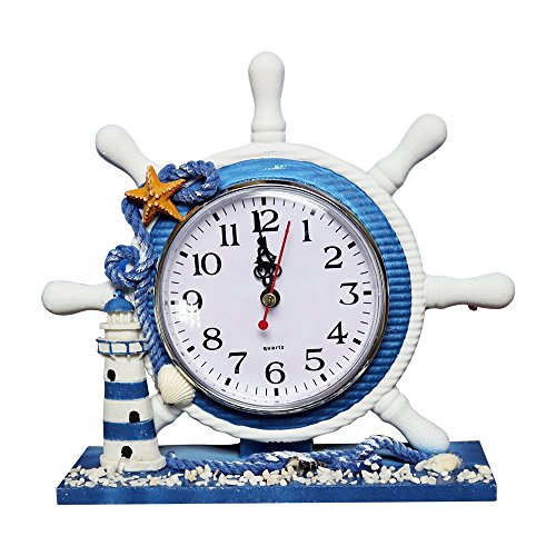Mediterranean Style Decorative Bracket Clock,Sanmersen 9 Inch Antique Nautical Steering Wheel Helm Clock With Lighthouse Decoration