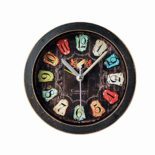 Usany retro old black wood alarm clock fashion creative three-dimensional metal rivets clock table table clock Black