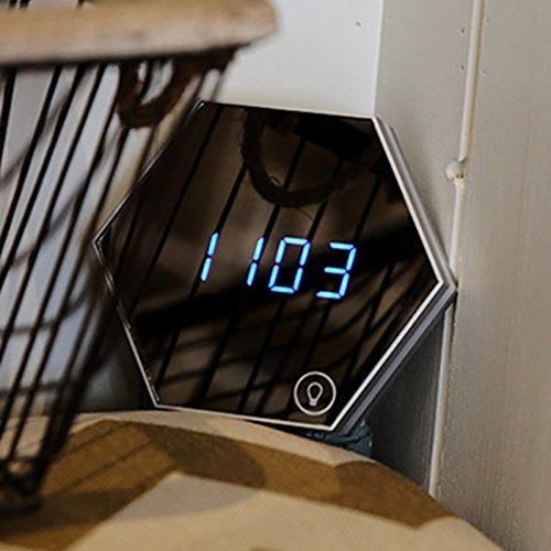 Zehui Mirror Glass Digital Alarm Clock Multifunctional LED Night Light Wall Clock Thermometer Gold