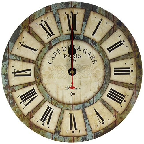 12-inch Wooden Clock, Eruner Vintage Wood Wall Clock – [Cafe De La Gare] Retro Style France Paris London Country Non-Ticking Silent Wooden Wall Clock (#03)