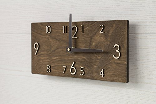 Wooden Wall Clock – Handmade Dark Brown Wall Clock – Rectangular Wall Clock – Modern Wall Clock – Scandinavian Clock – Wall Decor