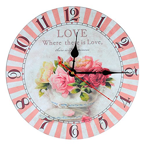 KI Store Silent Wall Clocks Non Ticking Large Round Vintage Rustic Decorative Clock (Champagne Rose)