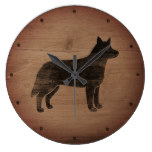 Australian Cattle Dog Silhouette Rustic Large Clock