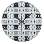 Gray Blue Black Eclectic Ethnic Look Large Clock