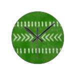 Minimalist Tribal Pattern in Lime Green Round Clock