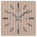 Rustic Beige and Gray Diamond Shape Pattern Square Wall Clock