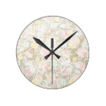 Rustic Chic Modern Floral Burlap & White lace Round Clock