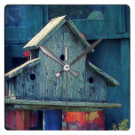 Rustic Wooden Birdhouse Blue Square Clock