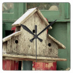 Rustic Wooden Birdhouse Green Square Clock