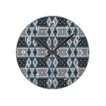 Teal Blue Gray Black Eclectic Ethnic Look Round Clock