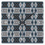 Teal Blue Gray Black Eclectic Ethnic Look Square Wall Clock