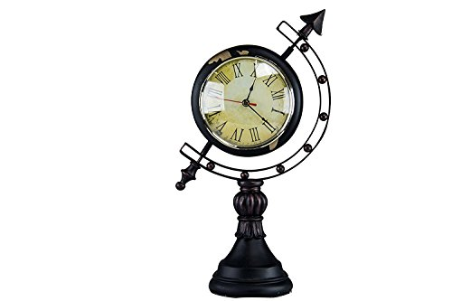 Oh! Trendy™ Antique Globe Desk CLock | Vintage Style Globe and Clock Home Decor – Aged Iron Finish