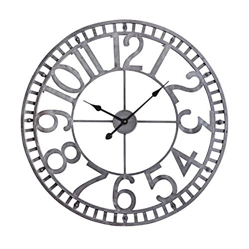 Utopia Alley Manhattan Industrial Wall Clock, Analog, Pewter