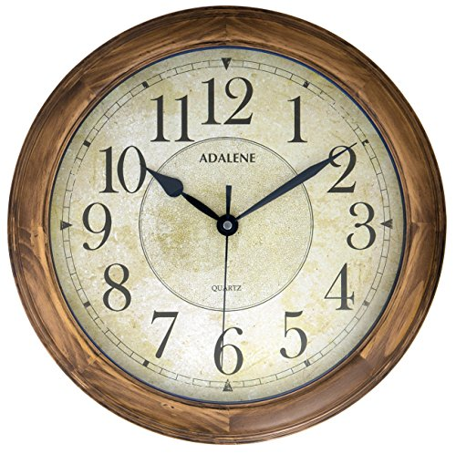 Adalene 14-Inch Large Wall Clock Decorative Living Room Modern – Battery Operated Quartz Analog Movement Silent Wall Clock For Home – Round Beige Dial, Arabic Numerals Wood Wall Clock Non Ticking