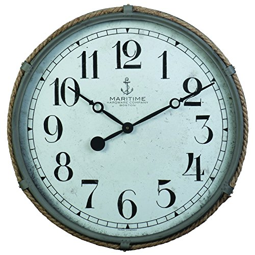 Derby Maritime Decorative Wall Clock, Vintage Unique Wall Clock for Outdoor and Home Decor, Gray