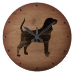 Black and Tan Coonhound Silhouette Rustic Style Large Clock