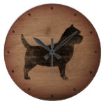 Cairn Terrier Silhouette Rustic Style Large Clock