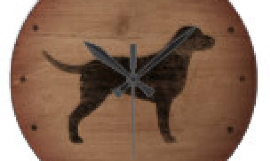Curly Coated Retriever Silhouette Rustic Style Large Clock