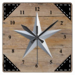 Faux Rustic Wood Background and Silver Star Square Wall Clock