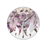 Feathers Rustic Dream Catcher Anemone Floral Round Clock