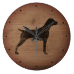 German Shorthaired Pointer Silhouette Rustic Style Large Clock