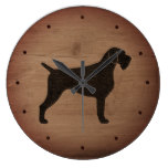 German Wirehaired Pointer Silhouette Rustic Style Large Clock