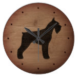 Giant Schnauzer Silhouette Rustic Style Large Clock