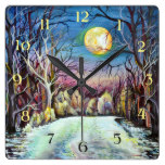 Silent Night Winter Full Moon in Sweden – Numbers Square Wall Clock