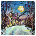 Silent Night Winter Full Moon in Sweden Square Wall Clock