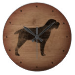 Spinone Italiano Silhouette Rustic Large Clock
