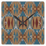 Teal Dark Red Tan Brown Ethnic Mosaic Pattern Square Wall Clock