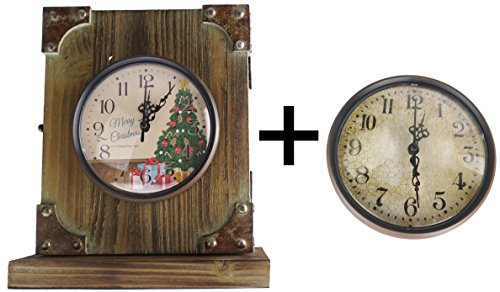 Lulu Decor, Rustic Wood Tabletop Clock with Iron Corners, comes with original crackled finish dial and also christmas decor dial in clear arabic numbers, 10″ H, perfect for holiday gifts(Christmas)
