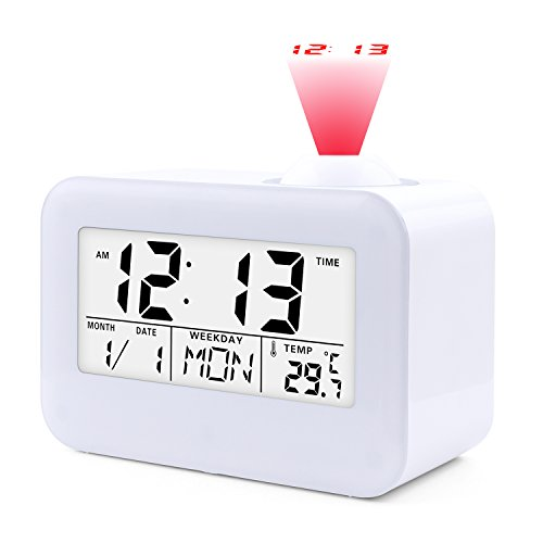 Projection Alarm Clock,JJCALL Digital Clock with 5″ LED Display Calendar Battery Operated for Home Office Bedrooms Desk Hourly Chime