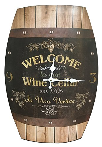 Clock Wine Barrel Look 20×15 inches Concave Wine Barrel Shape Wine Cellar Rustic Design