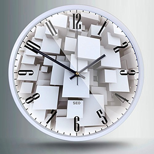 12-Inch Non-Ticking Silent Wall Clock With Modern and Nice Design For Living Room Large Kitchen, Metal Frame Round Wall Clock Battery Operated(Clock-606, White)