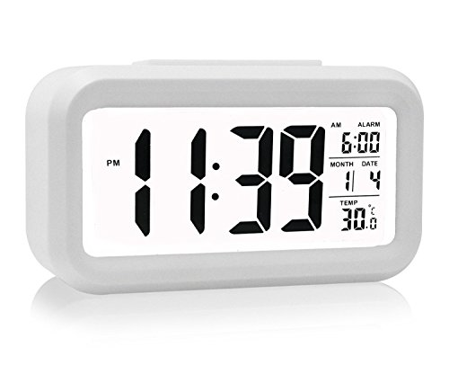 HeQiao LED Clock Slim Digital Alarm Clock Large Display Travel Alarm Clock with Calendar Battery Operated for Home Office – White (Temperature Display, Snooze Function, White Night Light)