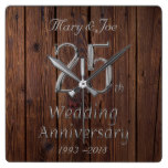 Silver Wedding Anniversary 25th Anniversary Rustic Square Wall Clock