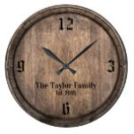 Vintage Wooden Barrel Head Family Name Established Large Clock