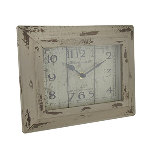 Wood & Glass Desk Clocks Vintage Finish Rectangular Wood Decorative Desk Clock 9.5 X 7.5 X 1 Inches Off-White Model # U0523
