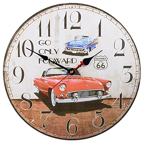 Retro Wooden Wall Clock Farmhouse Decor, SkyNature Silent Non Ticking Wall Clocks Large Decorative – Big Wood Atomic Analog Battery Operated – Vintage Rustic Colorful Tuscan Country (12 in, Cars)
