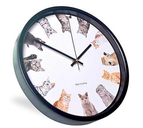 12-Inch Non-Ticking Silent Wall Clock With Modern and Nice Cat Design For Living Room Large Kitchen, Metal Frame Round Wall Clock Battery Operated(Clock-605) (Cat:A)