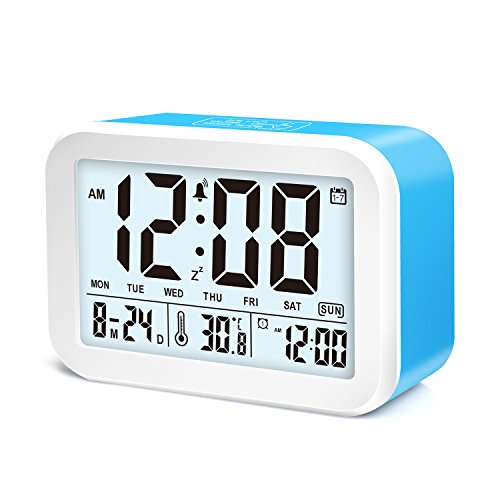 Hotwiner LED Clock Slim Digital Alarm Clock Large Display Travel Alarm Clock with Snooze and Nightlight Function,Ascending Sound Alarm & Handheld Sized, Batteries Powered (Blue)